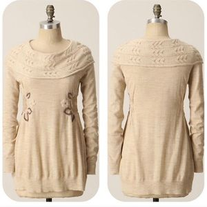 Moth Alpine embroidered cable knit neck sweater M